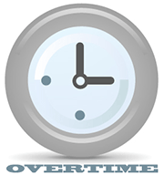 Clock showing overtime